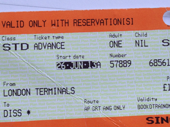 train ticket to Diss